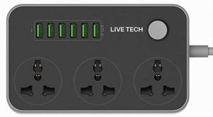Live Tech PS06 with Free 3PC Charging Cables 6 USB 3 Universal Sockets